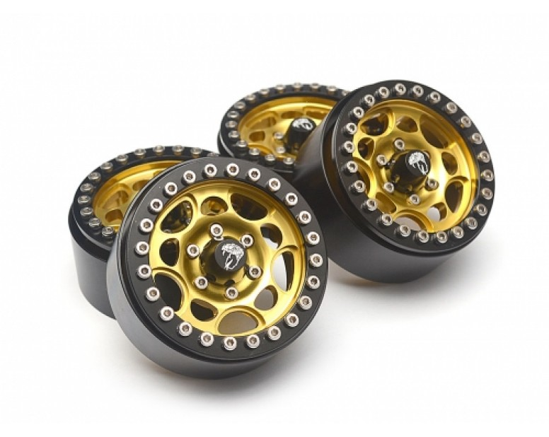 Sandstorm KRAIT™ 1.9 Aluminum Beadlock Wheels with 8mm Wideners (4) [Recon G6 Certified] Gold