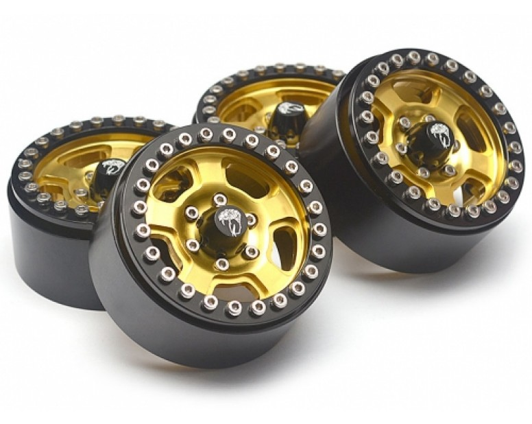 Golem KRAIT™ 1.9 Aluminum Beadlock Wheels with 8mm Wideners (4) [Recon G6 Certified] Gold