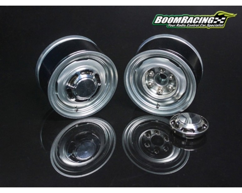 1.55 Yota LC Classic Rear Beadlock Wheels (2) with 3mm Wideners (2) Gun Metal