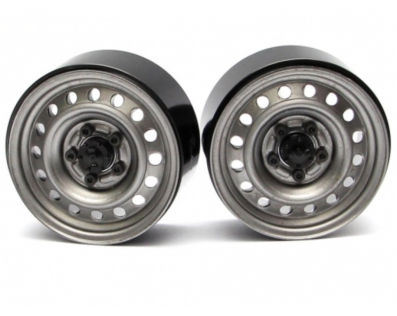 1.9 Badass Classic 16-Hole Steelie & CNC Aluminum Beadlock Wheels W/ Center Hubs (Rear) 2pcs Gun Metal