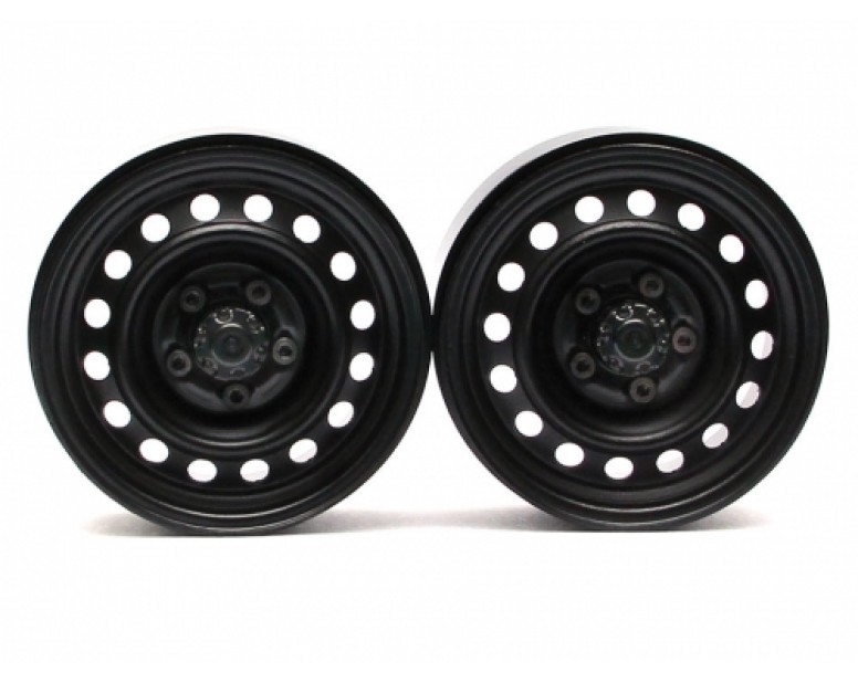 1.9 Narrow 21mm Badass Classic 16-Hole Steelie & CNC Aluminum Beadlock Wheels w/ Center Hubs (Front) 2pcs Black