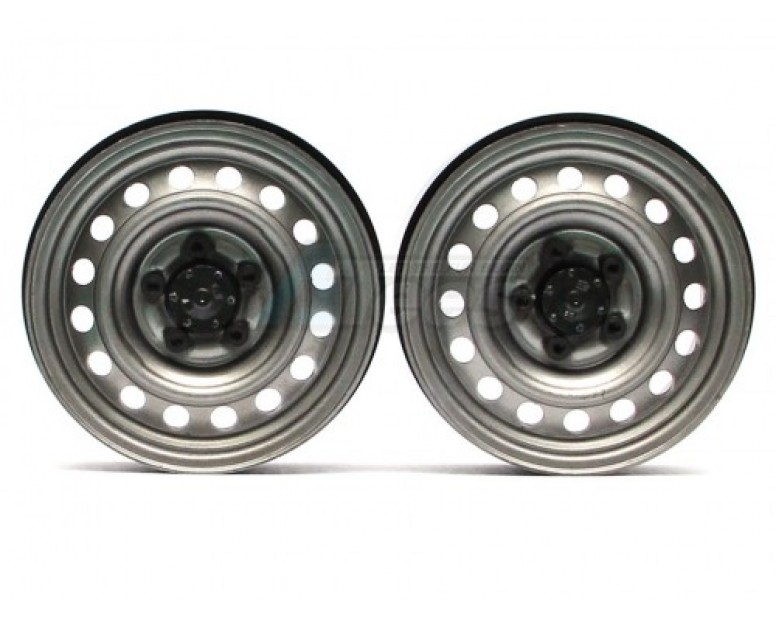 1.9 Narrow 21mm Badass Classic 16-Hole Steelie & CNC Aluminum Beadlock Wheels w/ Center Hubs (Rear) 2pcs Gun Metal