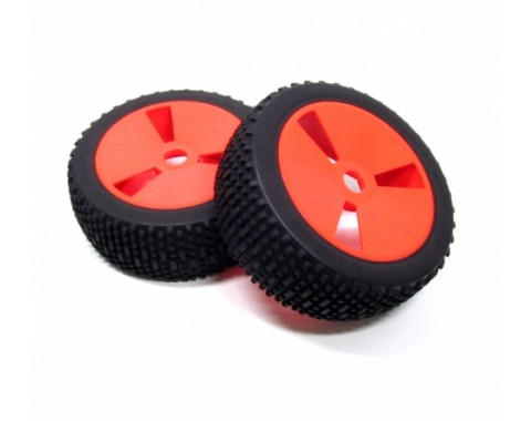 1/8 Buggy Wheel & Tire With Molded Inserts Pattern 2 (2) Red
