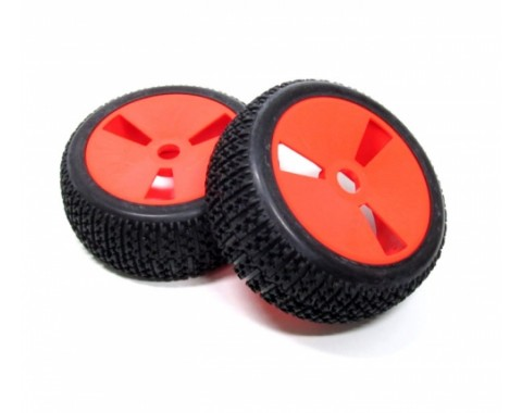 1/8 Buggy Wheel & Tire With Molded  Inserts Pattern 4 (2) Red