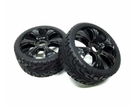 1/8 Buggy Wheel & Tire Set 5-spoke Pattern 3 (2) With Molded Inserts On Road Black