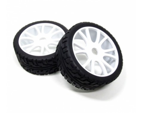 1/8 Buggy Wheel & Tire Set 12-spoke Pattern 3 (2) With Molded Inserts White