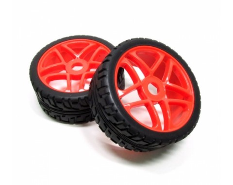 1/8 Buggy Wheel & Tire Set Dual 5-spoke On Road (2) With Molded Inserts Red